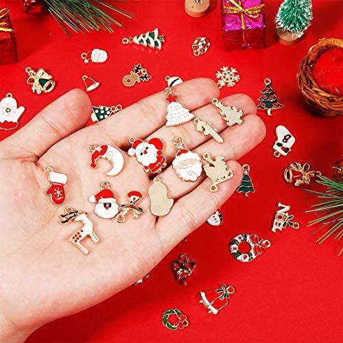 XQL 38pcs Christmas Charms Pendants DIY Jewelry Making Charms Pendant Christmas Assorted Enamel Charm Pendant Accessories Mixed Metal Charms Pendants Hanging Christmas Tree Ornaments Xmas Gift
