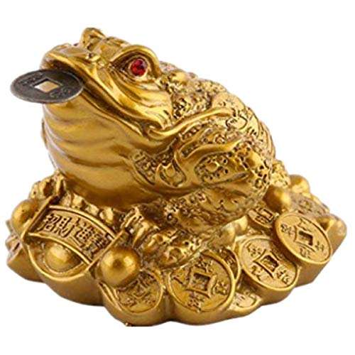DW Feng Shui Frog, Money Lucky Frog Coin Chinese Charm For Prosperity Home Decoration ()