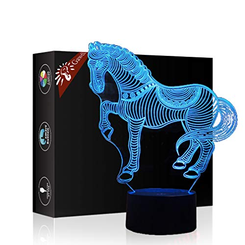 Horse 3D Xmas Decoration Illusion Night Lamp Beside Table Lamp, Gawell 7 Color Changing Touch Switch Halloween Gift Lamps with Acrylic Flat & ABS Base & USB Cable Horse Lover Theme Toy -