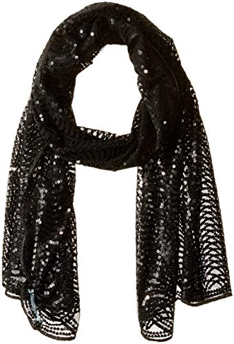 Betsey Johnson Women's Tulle Wrap with Sequin Scallop Pattern, Black, One Size