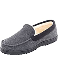 Men's Comfy Warm Wool Micro Suede Plush Fleece Lined Moccasin Slippers House Shoes Indoor/Outdoor