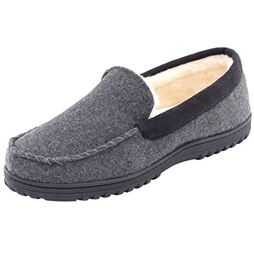 HomeTop Men's Comfy & Warm Wool Micro Suede Plush Fleece Lined Moccasin Slippers House Shoes Indoor/Outdoor (45 (US Men's 12), Dark Gray)