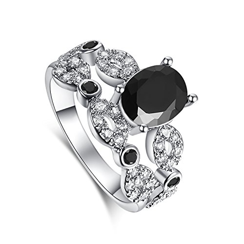 Psiroy Women's 925 Sterling Silver 2.75cttw Black Spinel Filled Ring