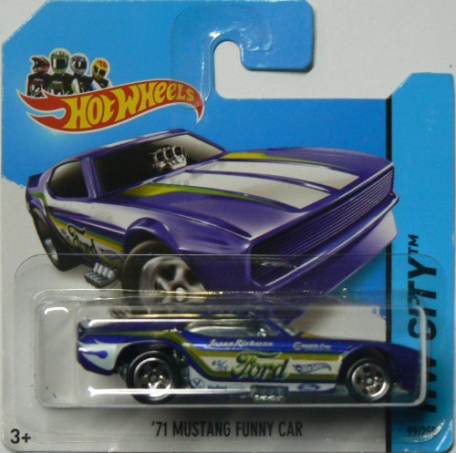 Hot Wheels 2014 Hw City Blue '71 Ford Mustang Funny Car 99/250 on Short Card