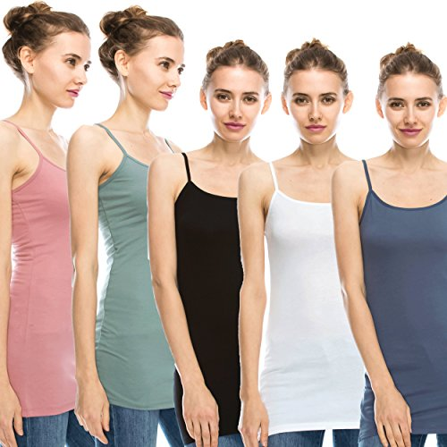 NOLABEL Multi Color 5 Pack Women's Basic Active Long Length Adjustable Spaghetti strap Cami Tank Top Small