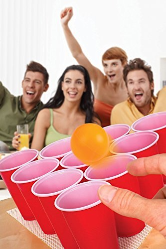 Pong Set For Cool Fun Beer Drinking Bachelorette Party Games - To Play With Friends For Adults College Students Adult Parties - Includes Cups, Balls, Game Anti Skid Mat (Golf Trophy Bowl)
