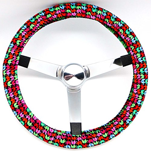 Mana Trading Handmade Steering Wheel Cover Mini Colorful Elephants