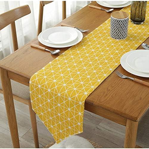 Camino de mesa bordado – Camino de mesa moderno amarillo a cuadros ...