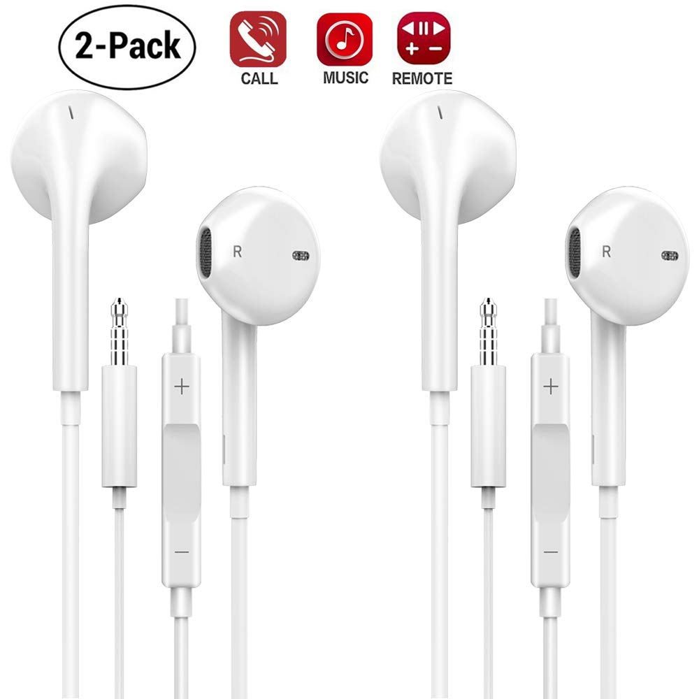 AXELECT 2pack Headphones 3.5 mm, Earphones with Microphone Stereo Earbuds with Remote Noise Cancelling Headsets Compatible for S8 S7 S6 and Android Smartphones
