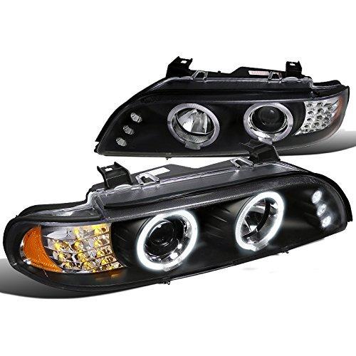 540i Assembly Bmw Headlight (Spec-D Tuning 2LHP-E3997JM-8V2-TM Bmw E39 525I 530I 540I Halo Led Projector Headlights Black W/Led Signal lamp)