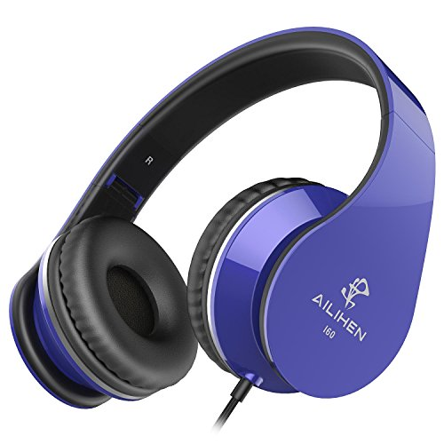 Price comparison product image AILIHEN I60 On Ear Headphones with Microphone for iPhone iPad Laptop Tablet Android Smartphones (Blue)