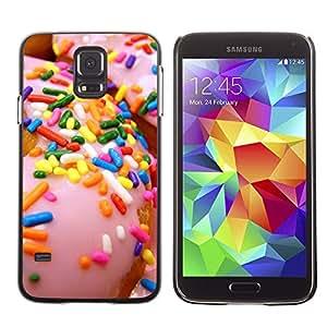 FlareStar Colour Printing Sprinkles Glazed Doughnut Pink Sweet cáscara Funda Case Caso de plástico para SAMSUNG Galaxy S5 V / i9600 / SM-G900F / SM-G900M / SM-G900A / SM-G900T / SM-G900W8