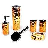 SereneLife 5 Piece Bathroom & Sink Accessory Set - Bronze Finish Modern Vanity Accessories Kit Include Tumbler, Toothbrush Holder, Lotion Pump Dispenser, Soap Dish & Toilet Brush Holder - SLBATAC03
