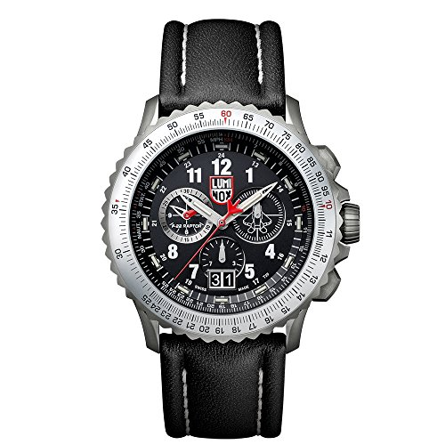 Luminox 9241 Men's Air F-22 Raptor 9240 Black Dial Black Leather Strap Chrono Dive Watch