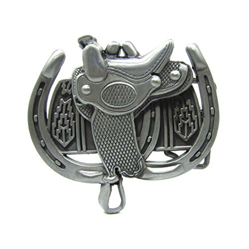 MASOP Western Horse Saddle Horseshoe Solid Cowboy Silver Belt Buckle Men - Belt Buckle Horseshoe