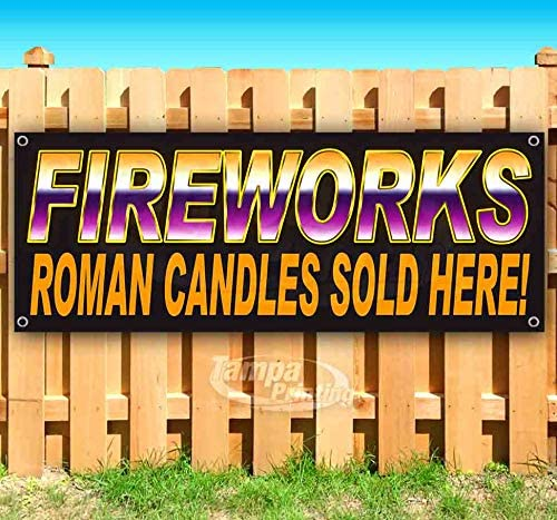 New Flag, Advertising Store Many Sizes Available Fireworks Spinners BL 13 oz Heavy Duty Vinyl Banner Sign with Metal Grommets