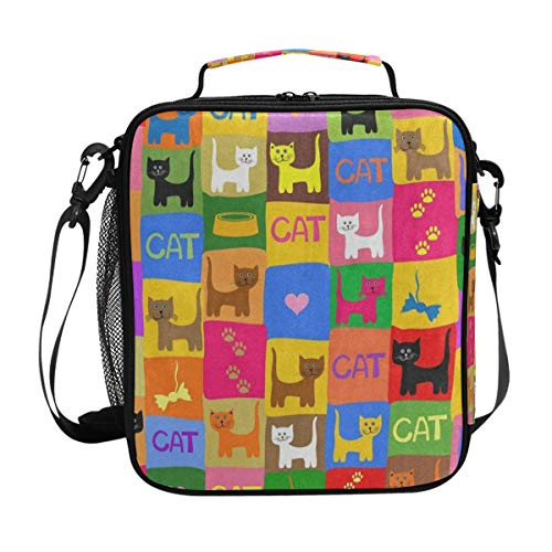 363e10a6ae03 Colorful Cat Heart Paw Print Lunch Bag Womens Insulated Lunch Tote  Containers Zipper Square Lunch Box for Kids Men