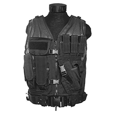 Black Army Usmc Marines Assault Military Combat Paintball Tactical Vest Airsoft