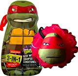 Teenage Mutant Ninja Turtles 3-in-1 Shampoo, Body Wash, Conditioner with Shower Teenage Mutant Ninja Turtles Pouf (Raphael(WILD CHERRY))