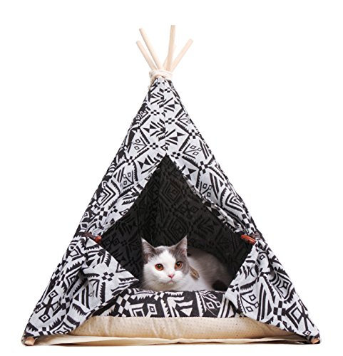 - little dove Pet Teepee Dog(Puppy) & Cat Bed - Portable Pet Tents & Houses for Dog(Puppy) & Cat Indian Style 28 Inch with Cushion