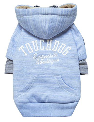 touchdog Hampton Beach' Designer Fashion Ultra-Plush Sand Blasted Pet Dog Hooded Sweater Hoodie, X-Small, Blue