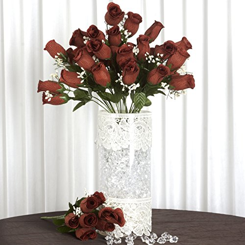 Brown Velvet Rose - Efavormart 84/pk Velvet Rose Buds Wedding Flowers Supply for Wedding Centerpiece Arrangements Party Decoration - Chocolate Brown