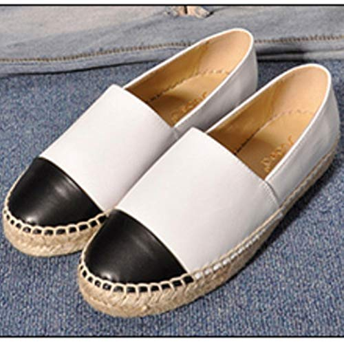 Comfortable Shoes Seasons Casual Espadrilles Fashion Genuine JULY Womens's Leather Loafers T White Flats qAgwfx6HO