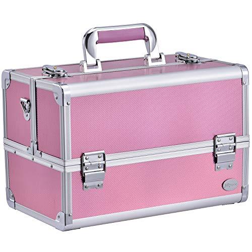 Joligrace Makeup Box Train Case – Professional 13.5 Inch Portable Aluminum Cosmetic Organizer Storage Box with 4…