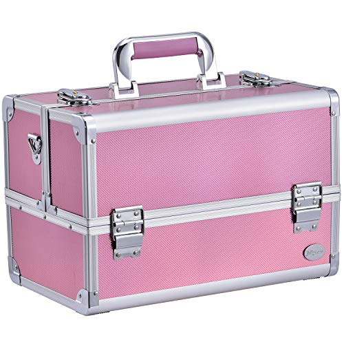 Joligrace Makeup Box Train Case – Professional 13.5 Inch Portable Aluminum Cosmetic Organizer Storage Box with 4 Adjustable Dividers Trays, 2 Locks and Shoulder Strap – Holographic Pink