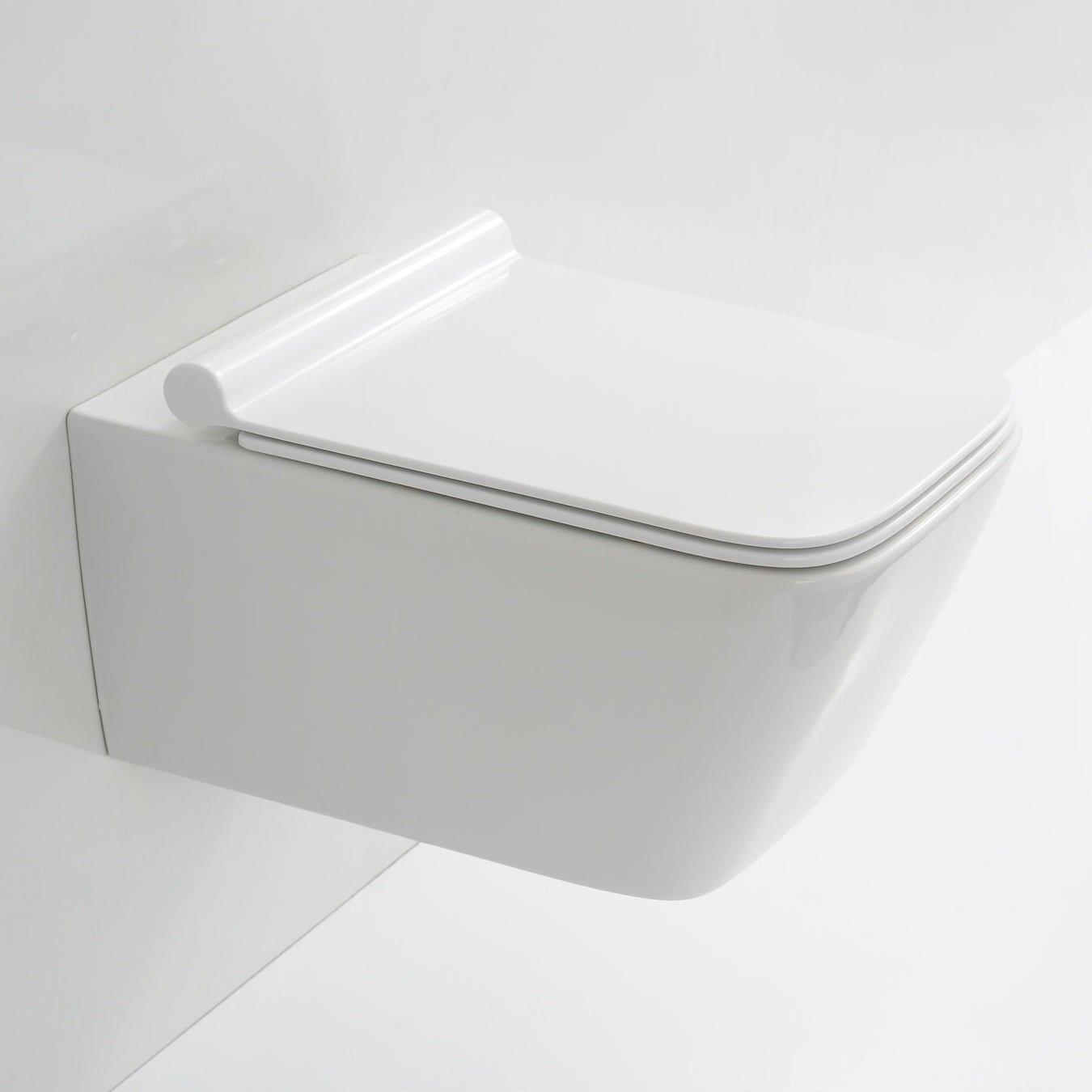 Neg hänge wc uno19 slimline tiefspülerrandloseckig toilette mit geschlossenem unterspülrand duroplast soft close deckel und nano beschichtung