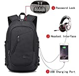 Laptop Backpack with USB Charging Port, Lock and Headphone Compartment, Fits 12-16' Notebook, Waterproof School Rucksack Business Knapsack Travel Daypack College Book Bag By Lmeison, Black