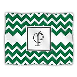 Kess InHouse KESS Original 'Monogram Chevron Green Letter P' Hundedecke, 101,6 x 76,2 cm