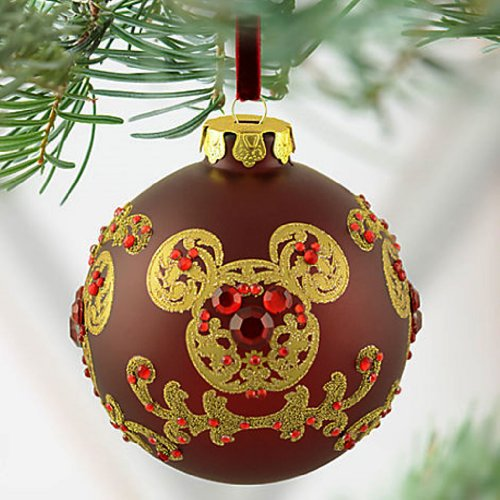 amazoncom disney exclusive mickey mouse ornament golden ears christmas jeweled gold artwork victorian style ball home kitchen - Mickey Mouse Ornaments Christmas