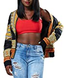 Playworld Women's Long Sleeve Floral Print Hip-Hop Bomber Jacket Coat,Black,Small
