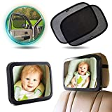 """Enovoe Baby Car Bundle, Car Window Shade - 21""""x14"""" (4 Pack) with Baby Car Mirror - Sun, Glare and UV Rays Protection While Keeping an Eye on Your Infant"""