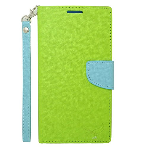 Galaxy Mega 2 Case, Insten Stand Folio Flip Leather [Card Slot] Wallet Flap Pouch Case Cover for Samsung Galaxy Mega 2, Green/Light Blue
