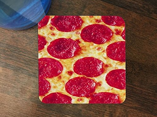 Excellent Pepperoni Pizza Silicone Drink Beverage Coaster 4 Pack