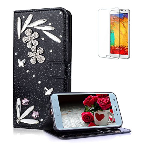 Funyye 3D Bling Flower Diamond Wallet Leather Case for Samsung Galaxy J4 2018,Black Premium Glitter Crystal Magnetic Flip with Stand Credit Card Holder Slots Case for Samsung Galaxy J4 2018