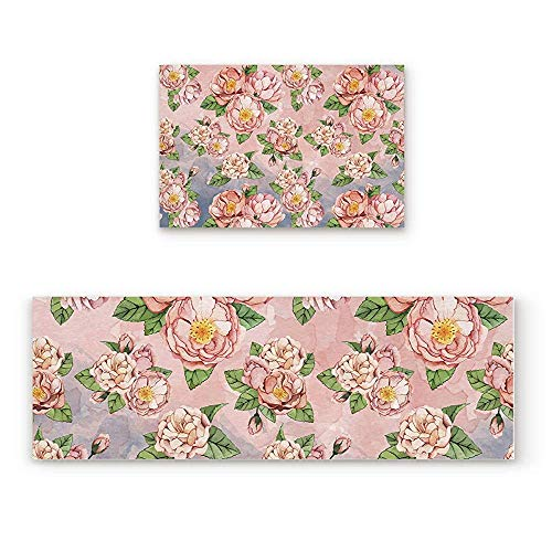 (YGUII Pink Peony Flower Kitchen Rug Sets 2 Piece Non-Slip Kitchen Mats and Rugs Romantic Garden Floral Decorative Area Runner Rubber Backing Carpets Floor Doormat)