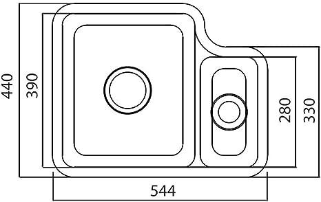 1x Sp/ülbecken Edelstahl 304 eckig Einbausp/üle 1 Becken K/üchensp/üle Einbaubecken Edelstahl Sp/üle mit Ablage rechts 80x50