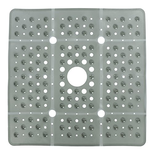 """SlipX Solutions Extra Large Gray Square Shower Mat Provides 65% More Coverage & Non-Slip Traction (27"""" Sides, 100 Suction Cups, Great Drainage)"""