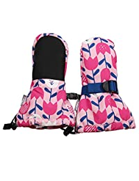 Waterproof Stay-on Snow Mittens for Baby Toddler Kids (XS: 0-2Y, Tulip Flower)