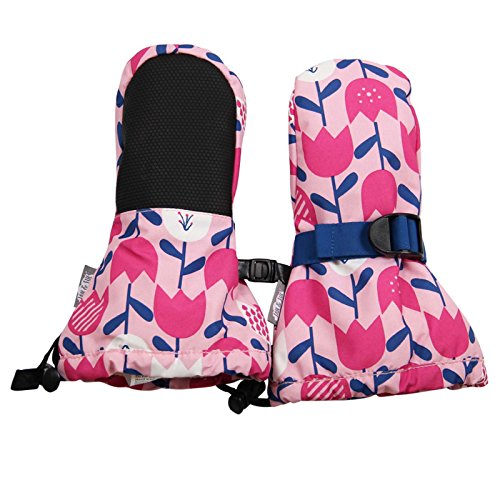 Waterproof Stay-on Winter Snow and Ski Mittens Fleece-Lined for Baby Toddler Girls and Boys (XS: 0-2Y, Snow Mitten: Tulip Flower)