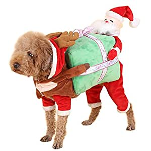 nacoco dog costume carrying gift box with santa claus pet cat costumes funny. Black Bedroom Furniture Sets. Home Design Ideas