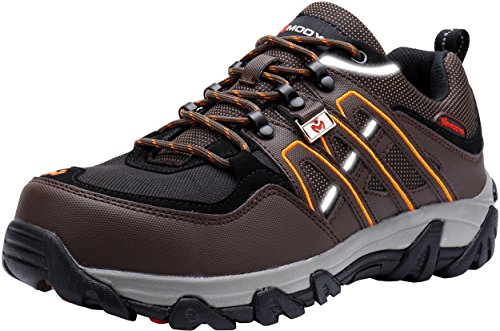 MODYF Mens Work Safety Shoes, Steel Toe Puncture Proof Footwear Industrial and Construction Shoes Brown