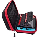 ButterFox Compact Switch Case for Nintendo Switch, Fits Slim Wall Charger AC Adapter, Large Accessories Pouch for Nintendo Switch, 9 Game and 2 Micro USB Holders - Red/Black