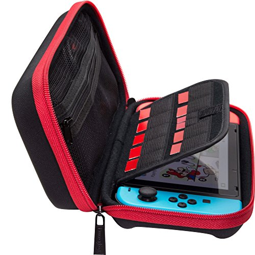 ButterFox Nintendo Switch Deluxe Travel Case with Storage Room for Official AC Adapter and 9 Game Card Slots - Red/Black