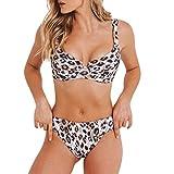 Women Sexy Leopard Print Two Piece Bikini Set Bathing Suit Push Up Padded Bra Mid Waist Swimsuit Swimwear