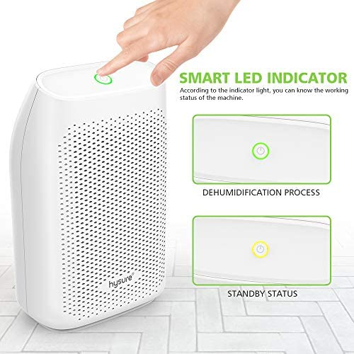 hysure 700ml Electric Dehumidifier, Removes Humidity 300ml per day, 700ml Detachable Water Tank, LED Indicator, Auto-Off, Efficient, Portable, Quiet, No Need Refill