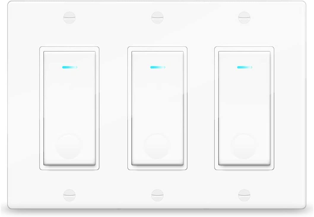 Smart Switch, 2.4Ghz WiFi Light Switch Compatible with Alexa, Google Home and IFTTT, with Timer and Remote Control, Fan in Wall Switch Compatible with Tuya App, No Hub, Neutral Wire Required, 3 Gang